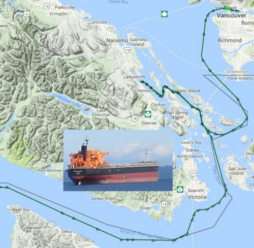 freighter route through gulf islands